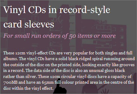 Vinyl�style CDs at Band CDs